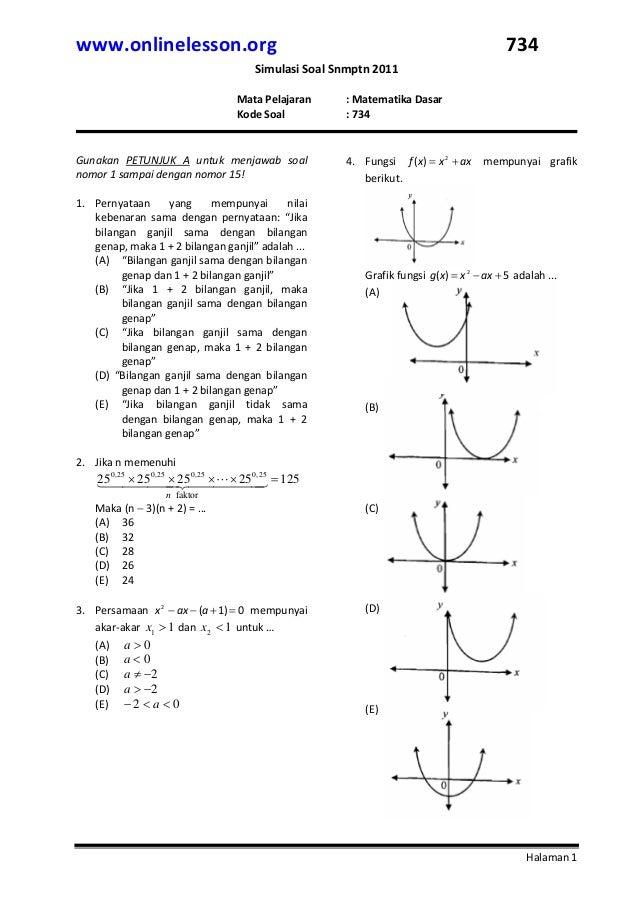 Latihan Soal Snmptn 2011 Matematika Dasar
