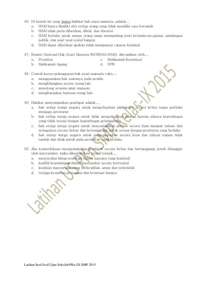 Latihan Soal Ujian Sekolah Pkn Smp Kelas Ix 2015 Pkn Smp