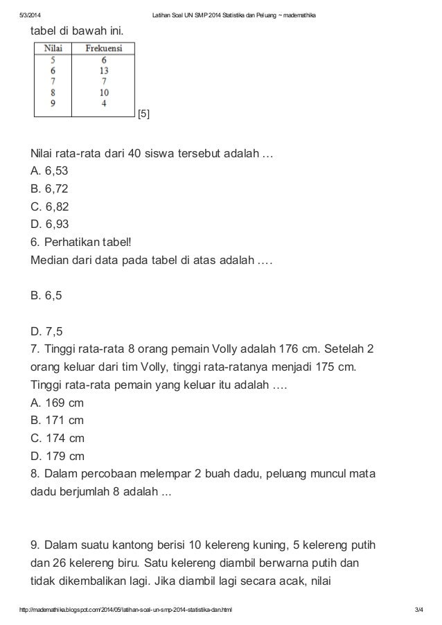 Latihan Soal Un Smp 2014 Statistika Dan Peluang Mademathika