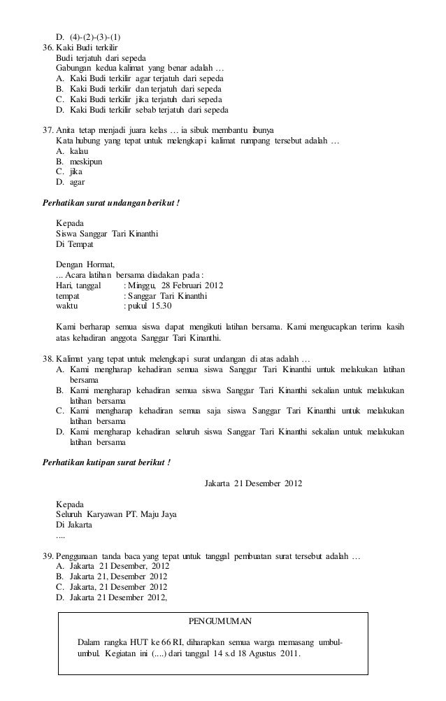 Latihan Soal Us Sd Mi 2016 Bahasa Indonesia 5