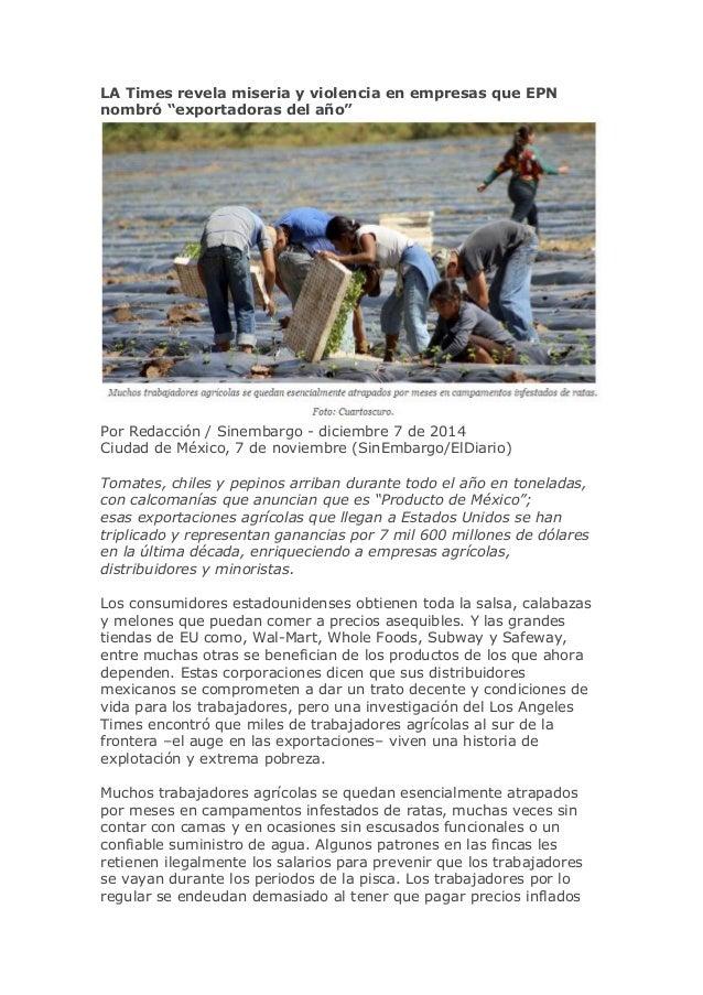 """LA Times revela miseria y violencia en empresas que EPN nombró """"exportadoras del año""""  Por Redacción / Sinembargo - diciem..."""