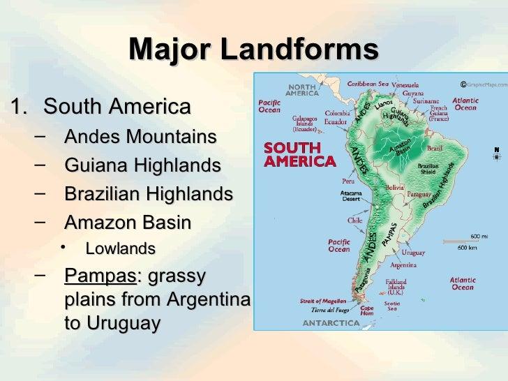 Latin America Physical - Argentina landforms map