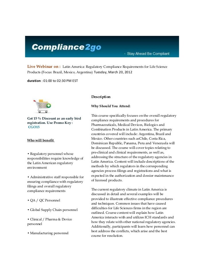 Live Webinar on : Latin America: Regulatory Compliance Requirements for Life ScienceProducts (Focus: Brazil, Mexico, Argen...