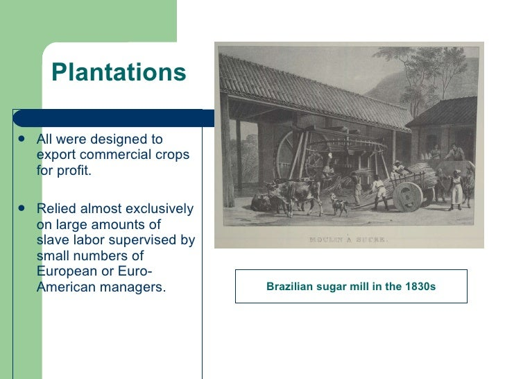 Plantations <ul><li>All were designed to export commercial crops for profit. </li></ul><ul><li>Relied almost exclusively o...