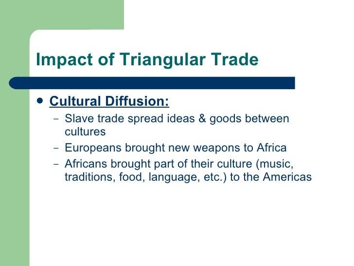 Impact of Triangular Trade <ul><li>Cultural Diffusion: </li></ul><ul><ul><li>Slave trade spread ideas & goods between cult...