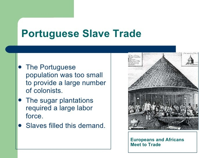 Portuguese Slave Trade <ul><li>The Portuguese population was too small to provide a large number of colonists. </li></ul><...