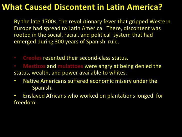 the wars of independence in latin The mexican war of independence began the ripple effect of the independence movement throughout latin america learn about the causes of the war.