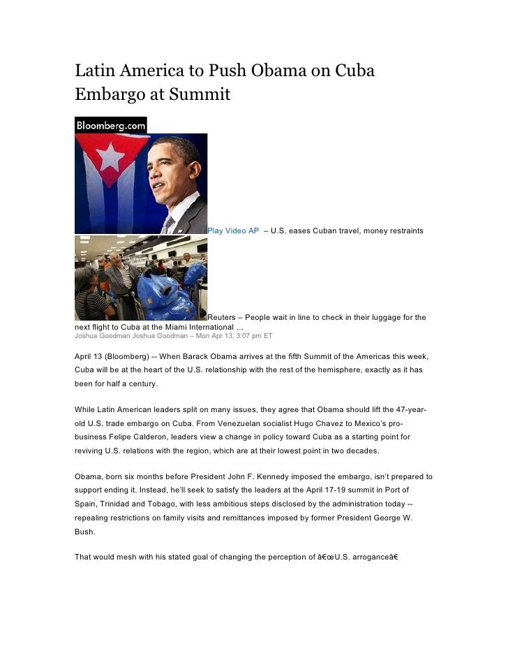 Latin America to Push Obama on Cuba Embargo at Summit                                           Play Video AP – U.S. eases...