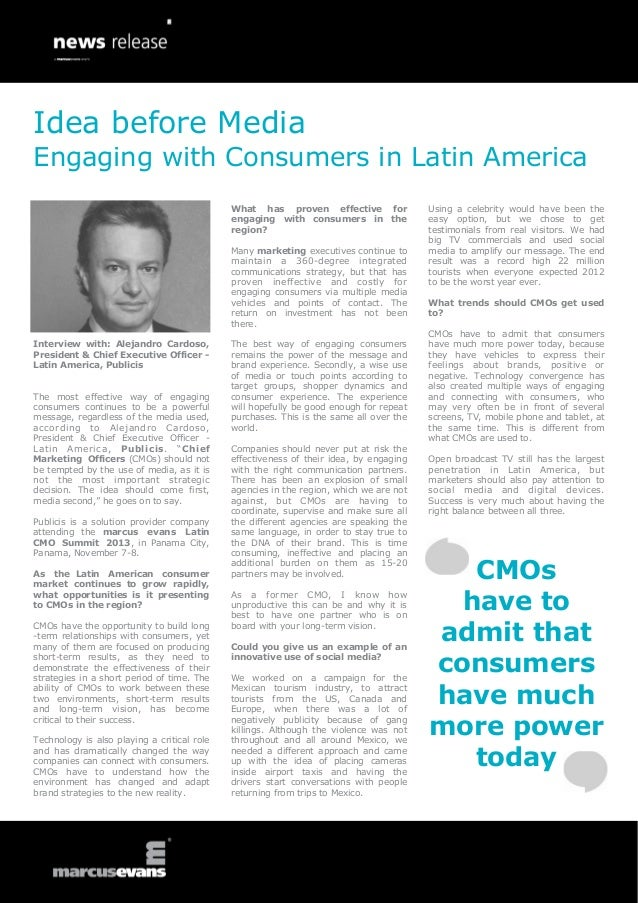 Interview with: Alejandro Cardoso, President & Chief Executive Officer - Latin America, Publicis The most effective way of...