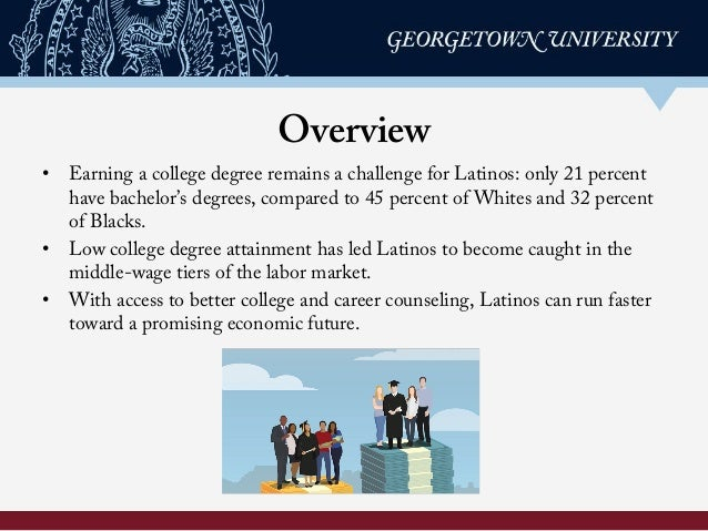 Overview • Earning a college degree remains a challenge for Latinos: only 21 percent have bachelor's degrees, compared to...