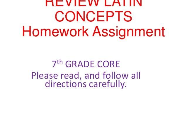 Latin Review Homework 7th Grade Core December