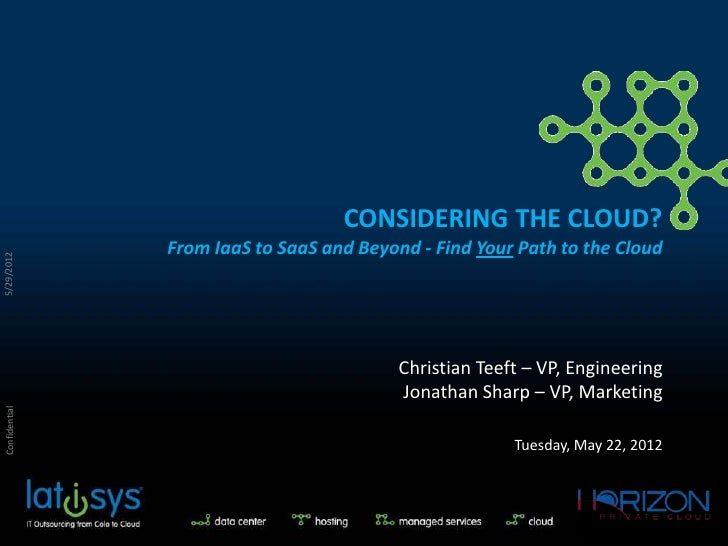 CONSIDERING THE CLOUD?                From IaaS to SaaS and Beyond - Find Your Path to the Cloud5/29/2012                 ...