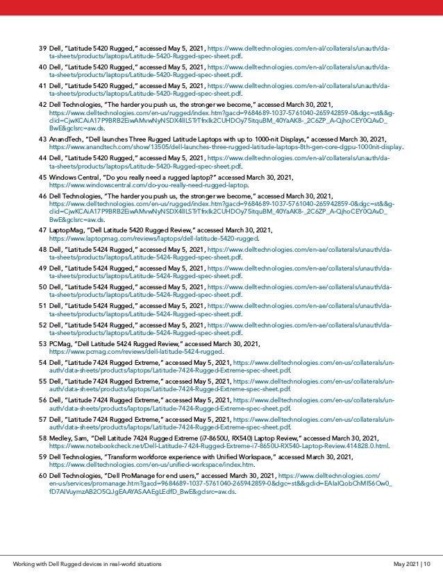 """39 Dell, """"Latitude 5420 Rugged,"""" accessed May 5, 2021, https://www.delltechnologies.com/en-al/collaterals/unauth/da- ta-s..."""