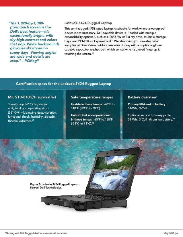 Latitude 5424 Rugged Laptop This semi-rugged, IP53-rated laptop is suitable for work where a waterproof device is not nece...
