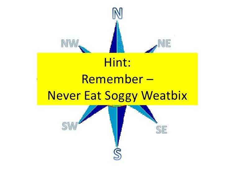 N<br />NE<br />NW<br />Hint:<br />Remember – Never Eat Soggy Weatbix<br />E<br />W<br />SW<br />SE<br />S<br />