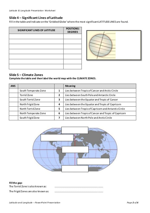 Lines of Latitude and Longitude Worksheet – Latitude and Longitude Worksheets