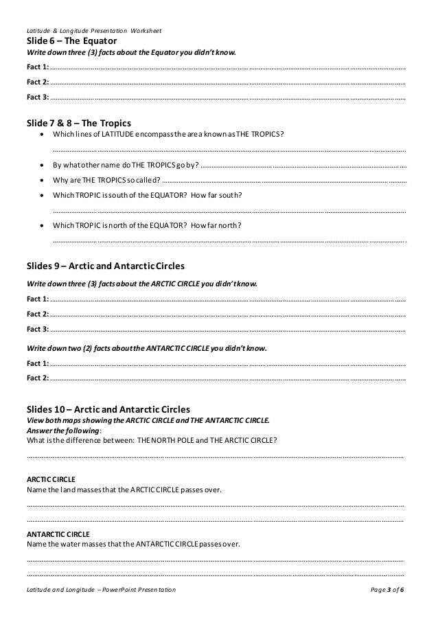 Lines of Latitude and Longitude – Worksheet