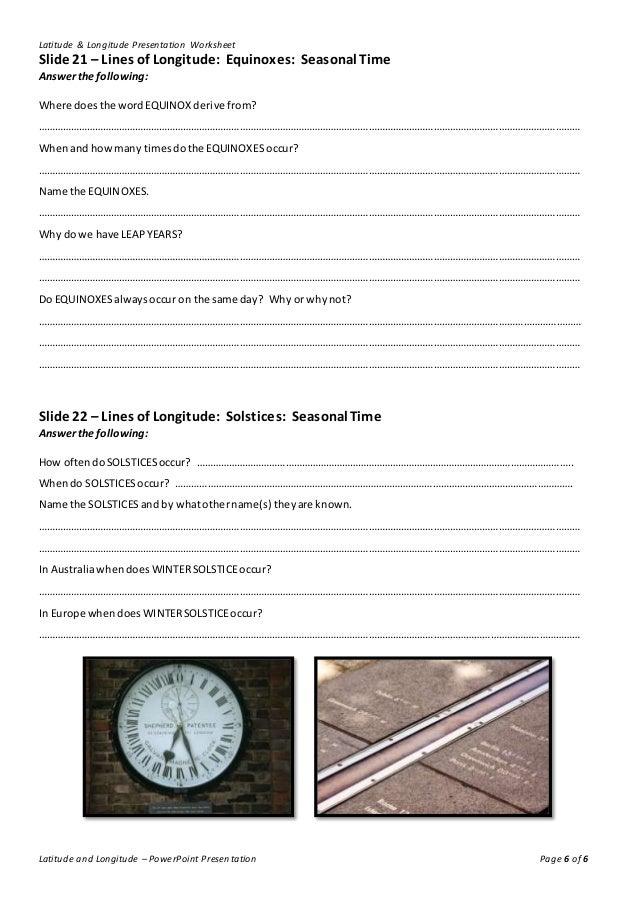 Lines Of Latitude And Longitude Worksheet