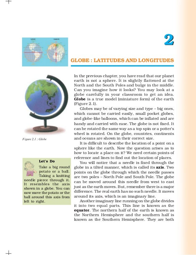 2                               GLOBE : LATITUDES AND LONGITUDES                                In the previous chapter, y...