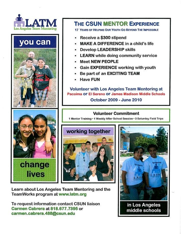 Los Angeles Team Mentoring Recruitment Flyer