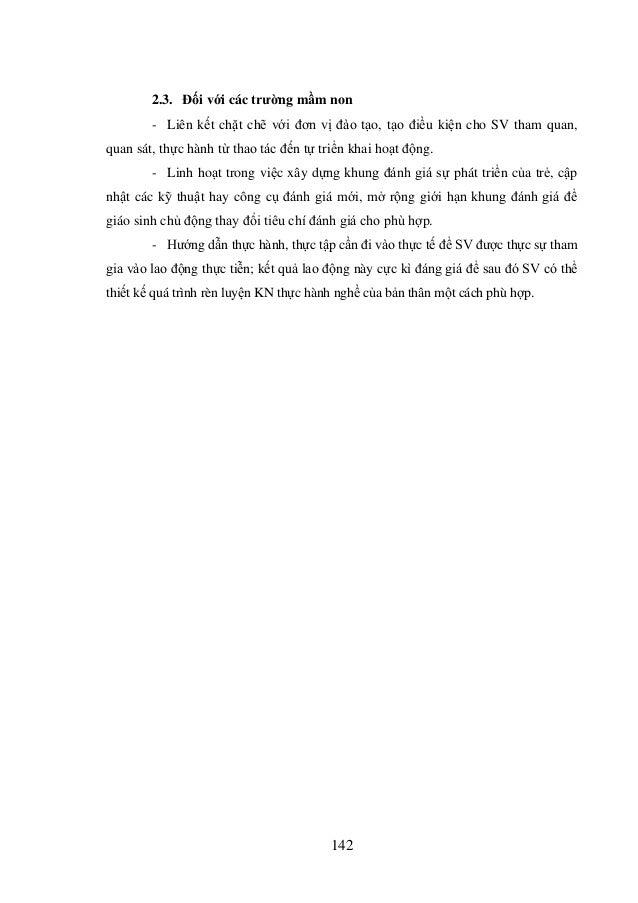 Luận án: Kỹ năng thực hành nghề của sinh viên sư phạm mầm non