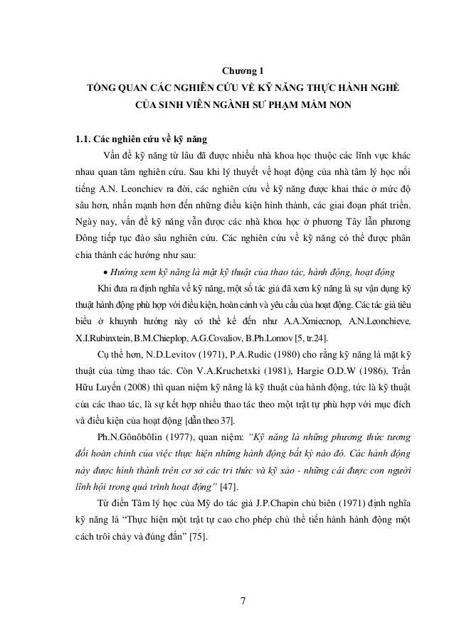 7 Chƣơng 1 TỔNG QUAN CÁC NGHIÊN CỨU VỀ KỸ NĂNG THỰC HÀNH NGHỀ CỦA SINH VIÊN NGÀNH SƢ PHẠM MẦM NON 1.1. Các nghiên cứu về k...