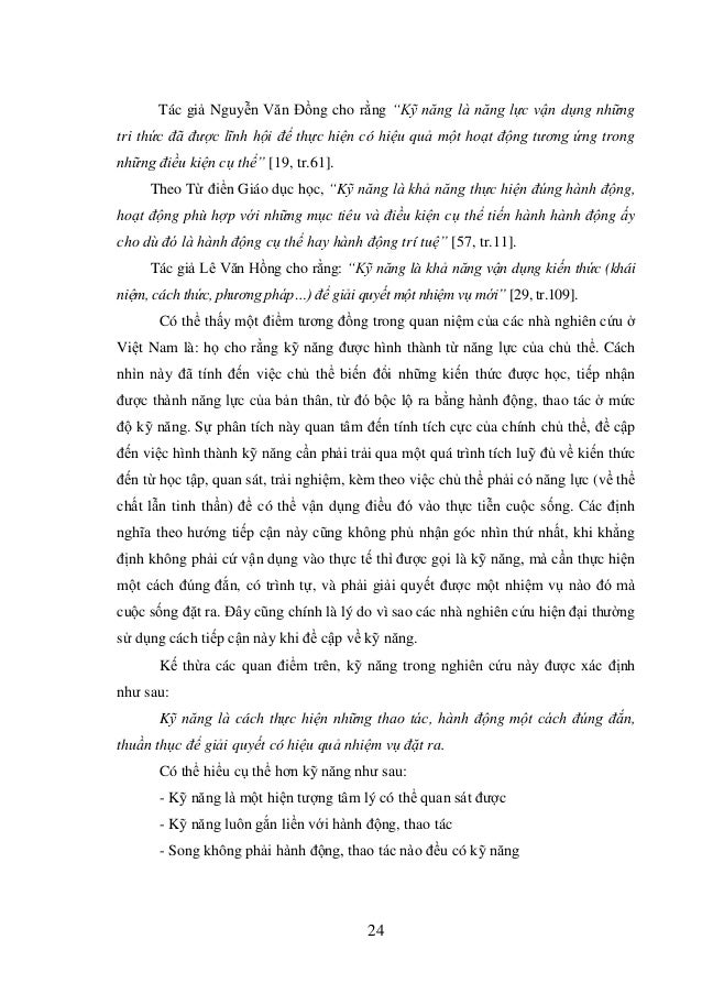 """24 Tác giả Nguyễn Văn Đồng cho rằng """"Kỹ năng là năng lực vận dụng những tri thức đã được lĩnh hội để thực hiện có hiệu quả..."""