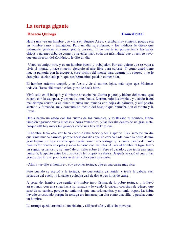 La tortuga giganteHoracio Quiroga                                                     Home/PortalHabía una vez un hombre q...