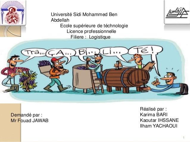 1 Université Sidi Mohammed Ben Abdellah Ecole supérieure de téchnologie Licence professionnelle Filiere : Logistique Deman...