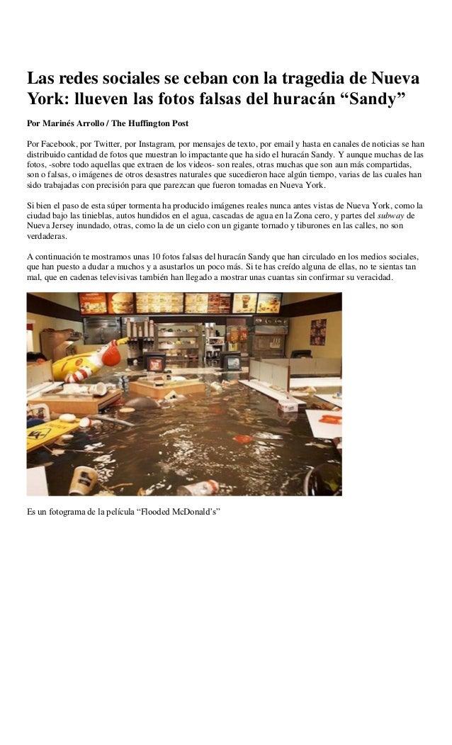 """Las redes sociales se ceban con la tragedia de NuevaYork: llueven las fotos falsas del huracán """"Sandy""""Por Marinés Arrollo ..."""