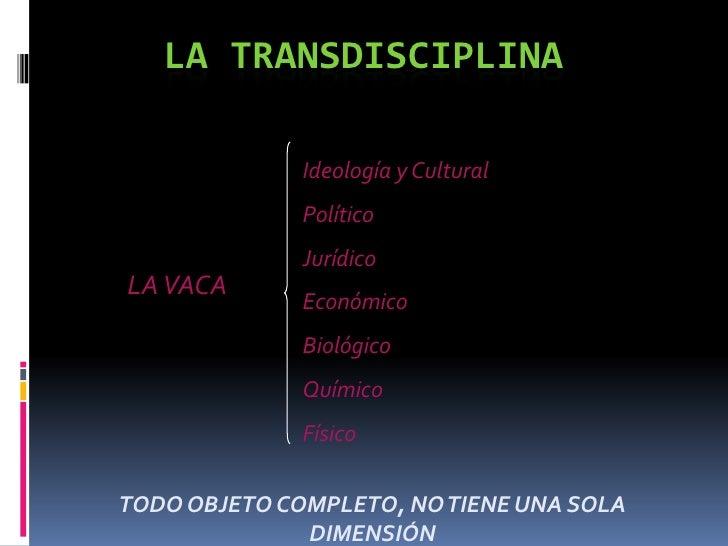 LA TRANSDISCIPLINA<br />Ideología y Cultural<br />Político<br />Jurídico<br />Económico<br />Biológico<br />Químico<br />F...