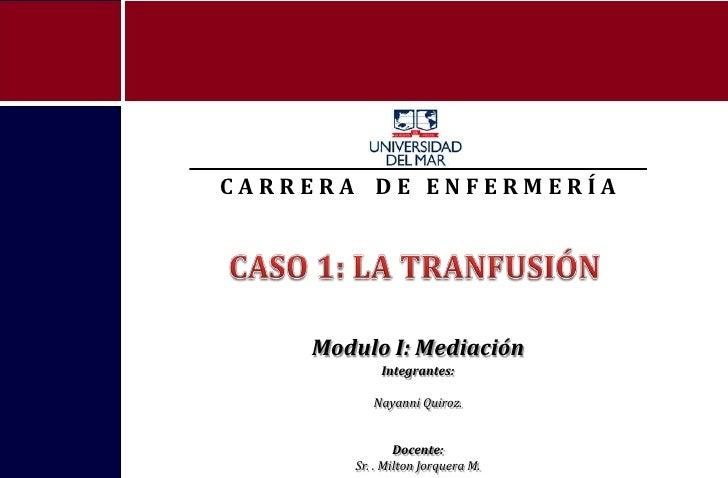 CARRERA DE ENFERMERÍA    Modulo I: Mediación            Integrantes:          Nayanni Quiroz.               Docente:      ...