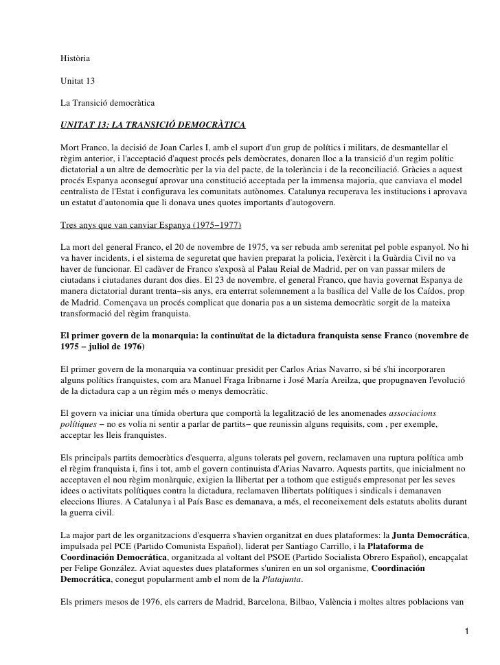 HistòriaUnitat 13La Transició democràticaUNITAT 13: LA TRANSICIÓ DEMOCRÀTICAMort Franco, la decisió de Joan Carles I, amb ...