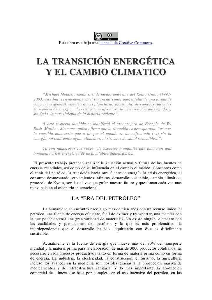 """Esta obra está bajo una licencia de Creative Commons.       LA TRANSICIÓN ENERGÉTICA     Y EL CAMBIO CLIMATICO         """"Mi..."""
