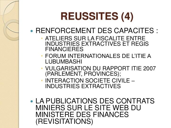 REUSSITES (4)<br />RENFORCEMENT DES CAPACITES:<br />ATELIERS SUR LA FISCALITE ENTRE INDUSTRIES EXTRACTIVES ET REGIS FINAN...