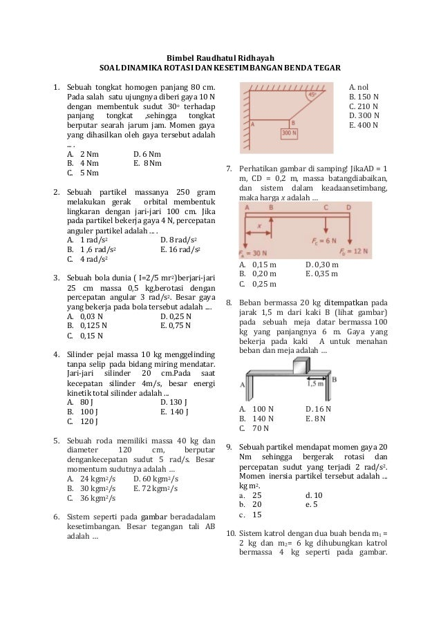 Soal Dan Pembahasan Fisika Kelas Xi Keseimbangan Benda Tegar Latihan Soal Pembahasan Benda Tegar