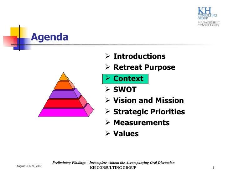 Agenda <ul><li>Introductions </li></ul><ul><li>Retreat Purpose </li></ul><ul><li>Context </li></ul><ul><li>SWOT </li></ul>...