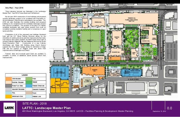 Site Plan – Year 2018   Three planning horizons are illustrated in the LandscapeMaster Plan; Year 2018, Future Bond and Fu...
