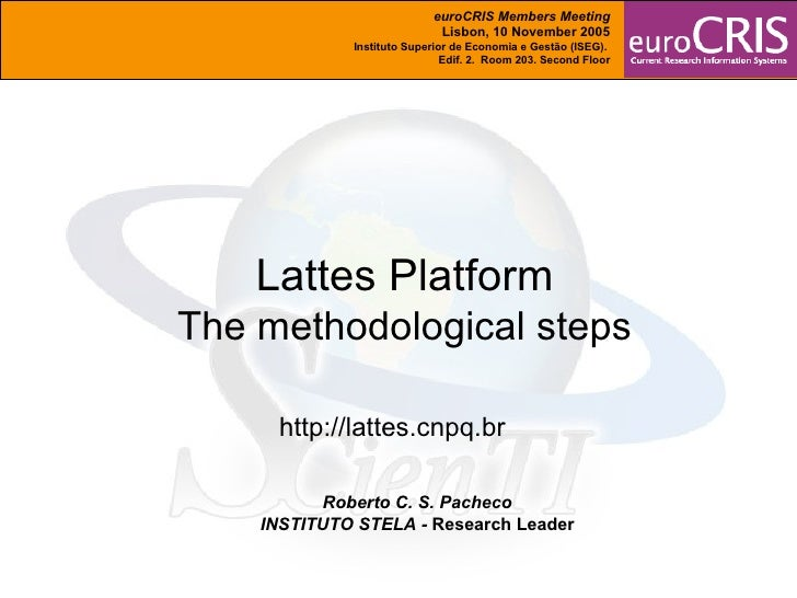 Roberto C. S. Pacheco INSTITUTO STELA -  Research Leader Lattes Platform The methodological steps http://lattes.cnpq.br eu...