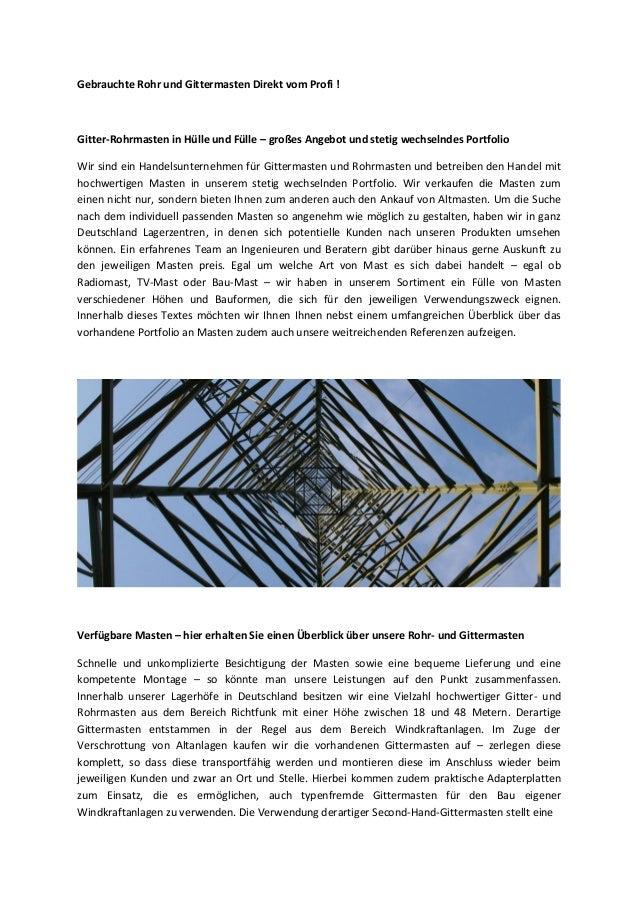 Gebrauchte Rohr und Gittermasten Direkt vom Profi ! Gitter-Rohrmasten in Hülle und Fülle – großes Angebot und stetig wechs...