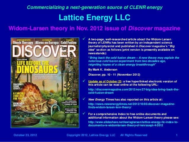 Commercializing a next-generation source of CLENR energy                       Lattice Energy LLCWidom-Larsen theory in No...