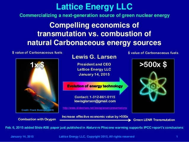 January 14, 2015 Lattice Energy LLC, Copyright 2015, All rights reserved 1 Lattice Energy LLC Compelling economics of tran...