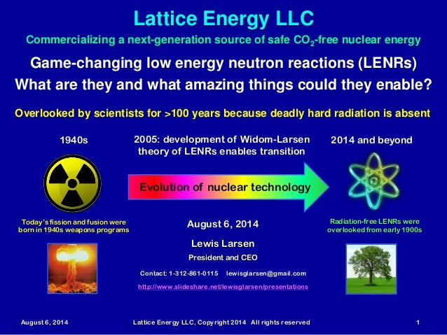 Lattice Energy LLC August 6, 2014 Lattice Energy LLC, Copyright 2014 All rights reserved 1 Game-changing low energy neutro...