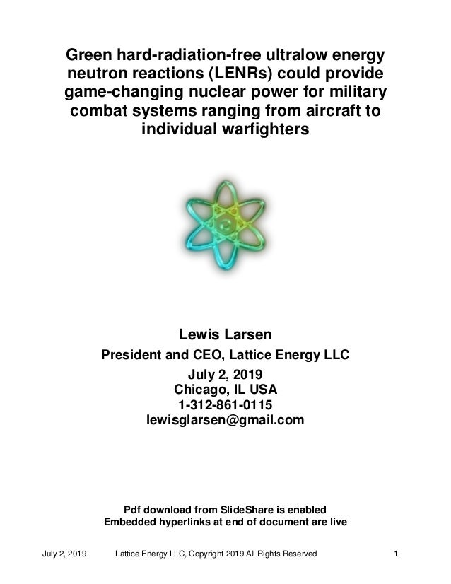 Lattice Energy LLC - Green hard-radiation-free len rs could