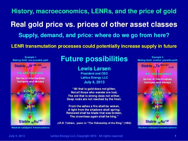 History, macroeconomics, LENRs, and the price of gold July 4, 2013 Lattice Energy LLC, Copyright 2013 All rights reserved ...