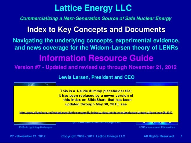 Lattice Energy LLC1V7 - November 21, 2012 Copyright 2009 - 2012 Lattice Energy LLC All Rights ReservedCommercializing a Ne...