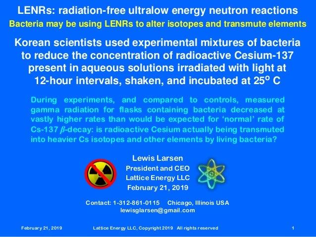 February 21,42019 Lattice Energy LLC, Copyright 2019 All rights reserved 1 LENRs: radiation-free ultralow energy neutron r...