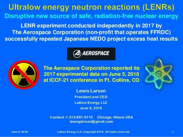 June 6, 2018 Lattice Energy LLC, Copyright 2018 All rights reserved 1 Disruptive new source of safe, radiation-free nuclea...