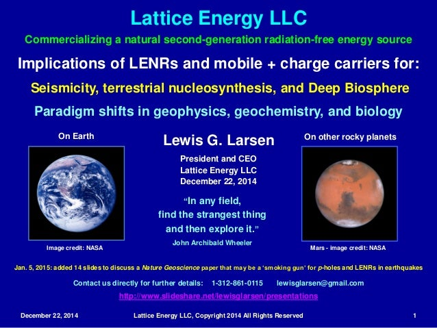 December 22, 2014 Lattice Energy LLC, Copyright 2014 All Rights Reserved 1 Implications of LENRs and mobile + charge carri...