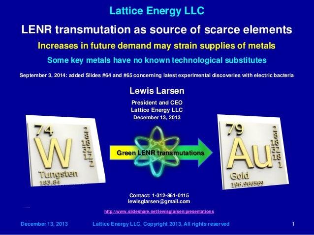 Lattice Energy LLC  December 13, 2013 Lattice Energy LLC, Copyright 2013, All rights reserved 1  LENR transmutation as sou...